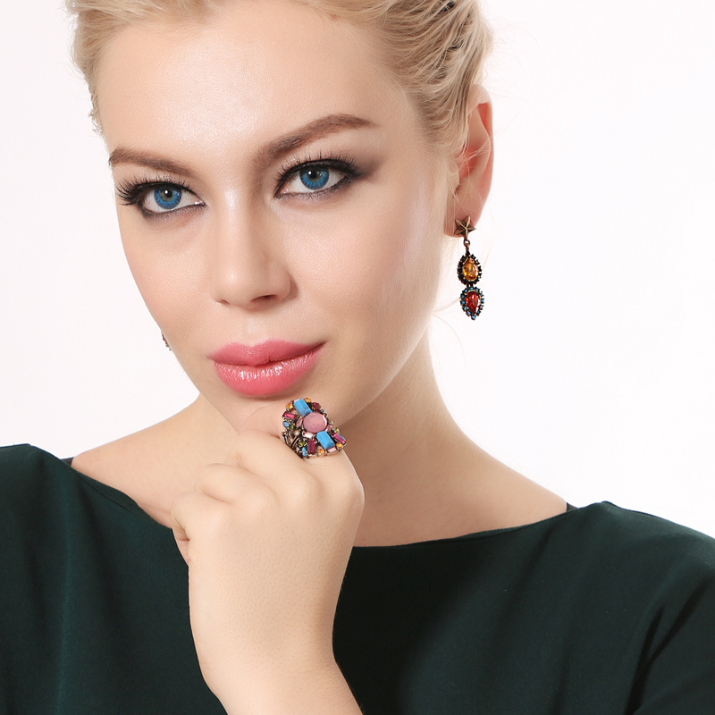 Retro Ethereal Two Tone Orange & Red Crystal Teardrop Gold Star Drop Earrings Noble Foreign Style Court Elegant Fashion Jewelry
