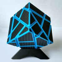 Forma estranha cubo fantasma fibra de carbono cubo mágico torção torção quebra-cabeça brinquedo educativo azul cubo magico