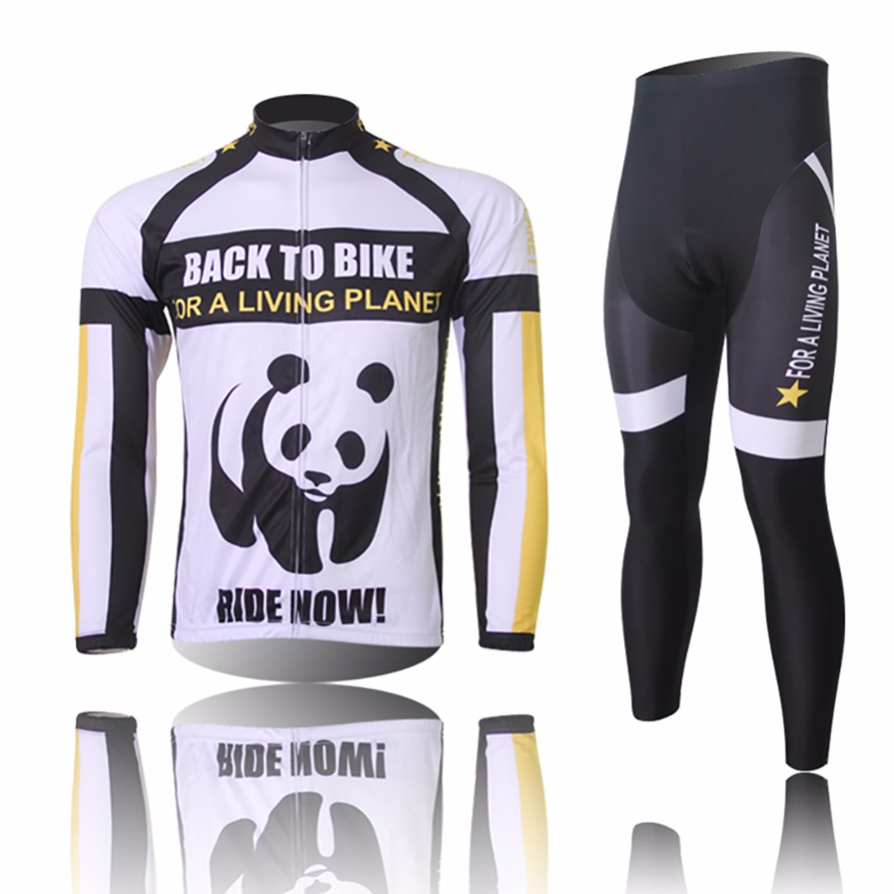 Amur Leopard Panda Thermal Long Sleeve Bike Bicycle Clothing Ropa Ciclismo Men's Team Cycling Jersey Set Pants Spring/Autumn кофеварка гейзерная tescoma monte carlo  на 4 чашки