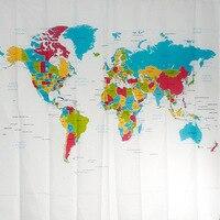 Yulian new world map creative European version of the flat screen polyester shower curtain factory spot bathroom shower curtain