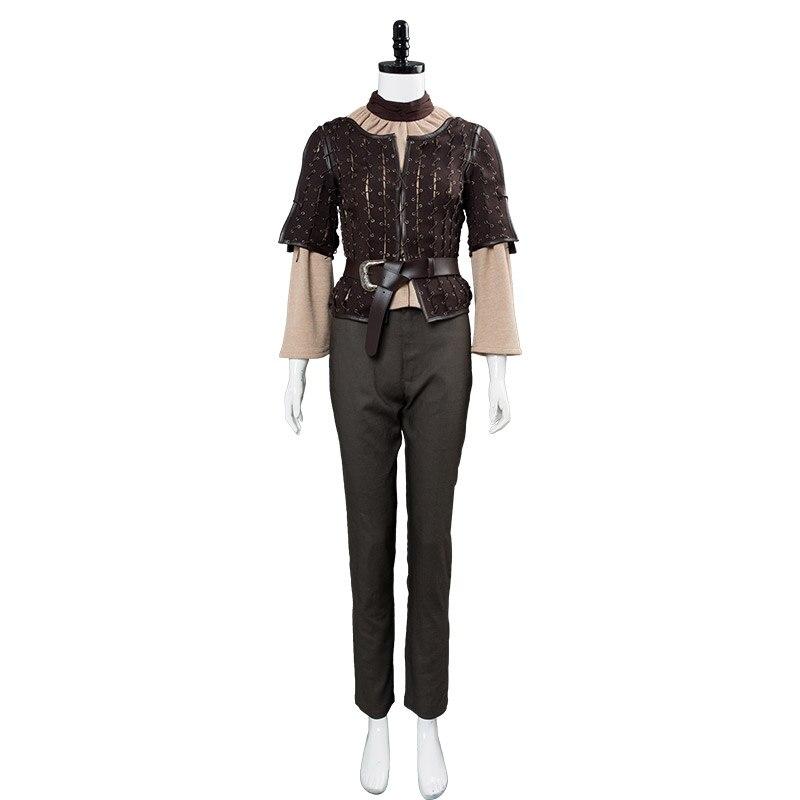 Disfraz de Cosplay de Juego de tronos Arya Stark, chaqueta marrón de cuello alto, pantalones, cinturón, marco de batalla, Halloween, Carnaval, navidad - 5