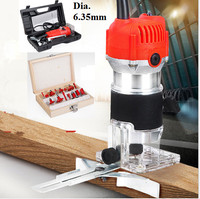 800W Electric Laminate Edge Trimmer Collet Mini Router Wood Carving Machine Carpentry Woodworking Power Tools with 15pcs die set