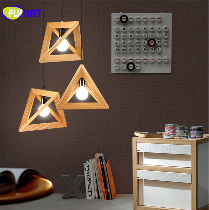 FUMAT Nordic Wooden Triangle LED Pendant Light for Restaurant Cafe Loft Pendant Lamp Vintage Hanging Lamp Bar Wood Light Fixture