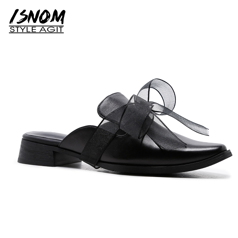 ISNOM 2018 Brand Designer Women Mules Shoes Med Heel Cow Leather Butterfly Knot Footwear New Summer Fashion Casual Ladies Shoes kjstyrka 2018 brand designer women mules pointed toe ladies shoes med heel sandals black red lattice fashion girls shoes