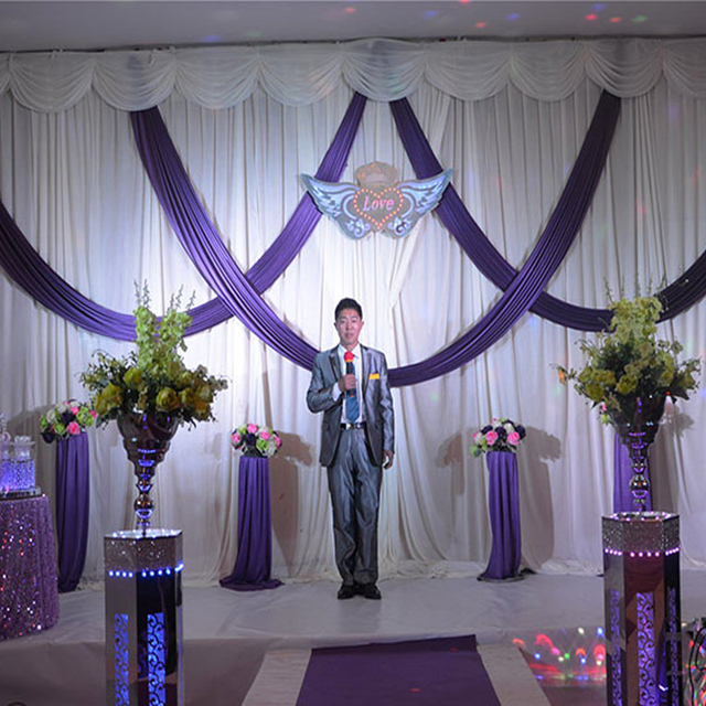 2016 Purple And White Wedding Backdrop With Swags D Mandap Decorations Ice Silk