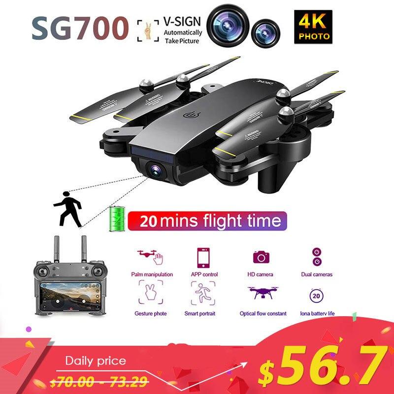 SG700 Atualizado Dobrável RC 4K Zangão Profissional FPV WI-FI Dual Camera Drone Quadcopter Controle APP Modo De Seguir Para O Presente brinquedo Dron