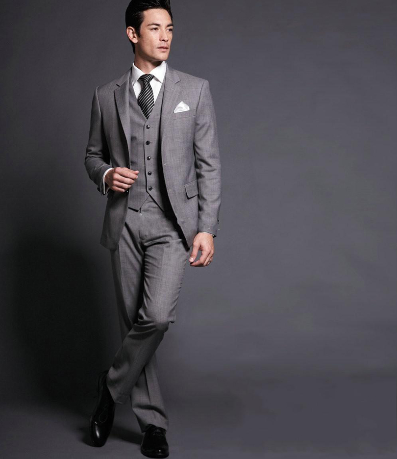 Custom Made Slim Fit Gray Silver Groom Tuxedos Notch Lapel The ...