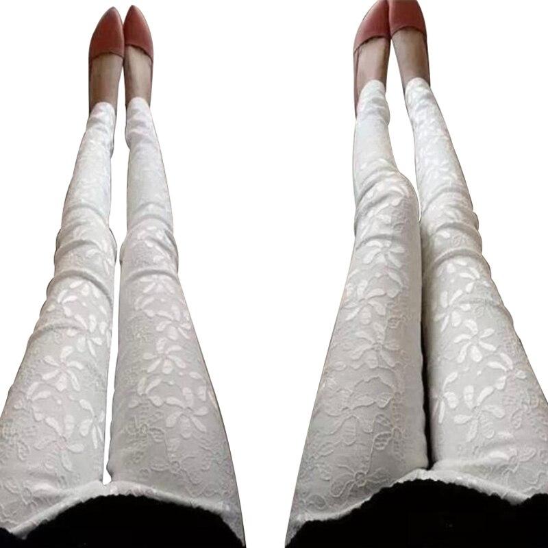 Plus Size Fashion Women's Leggins Solid Stretch Pencil Feet Lace Flower Print Finess Leggings For Women Workout Velvet Leggings