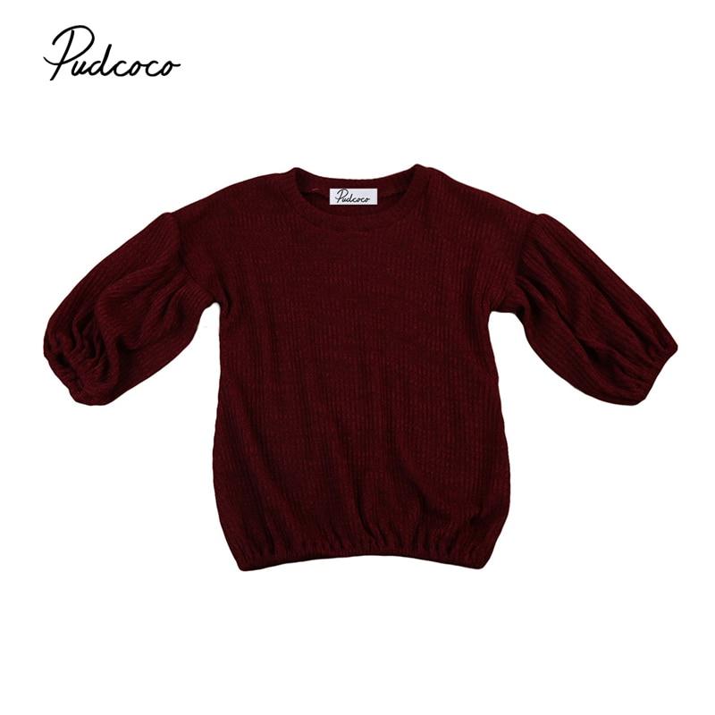 1-6y Kleinkind Baby Kinder Mädchen Langarm Pullover Tops Oansatz Pullover Outfits Laterne Hülse Oberbekleidung Kleidung