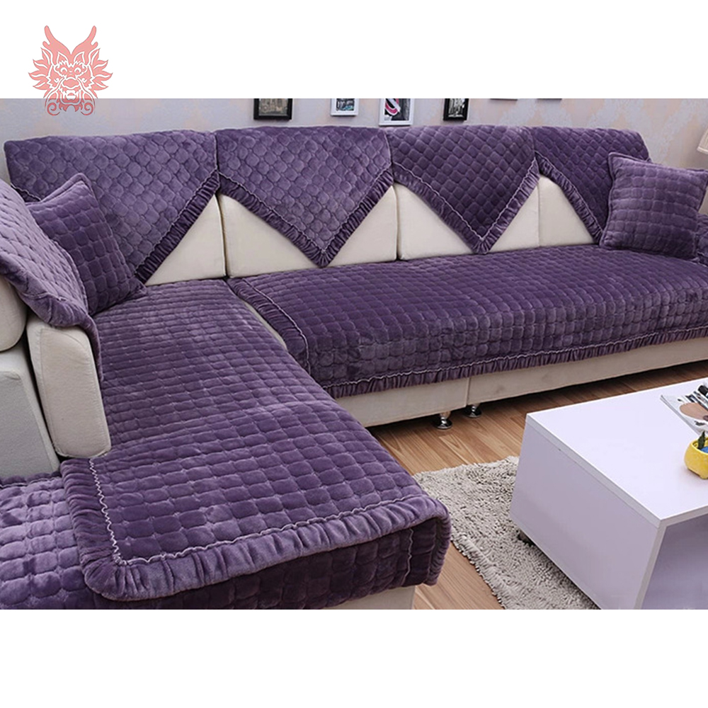 modern style purple solid plush sofa cover plaid quilting slipcovers canape anti slip sofa cover. Black Bedroom Furniture Sets. Home Design Ideas