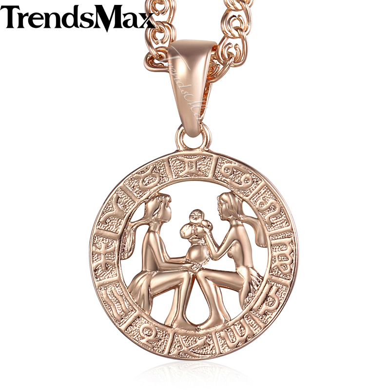 Gemini 12 Zodiac Sign Constellation Womens Necklace 585 Rose Gold Color Pendant Necklace For Women Men Gift Jewelry KGP178