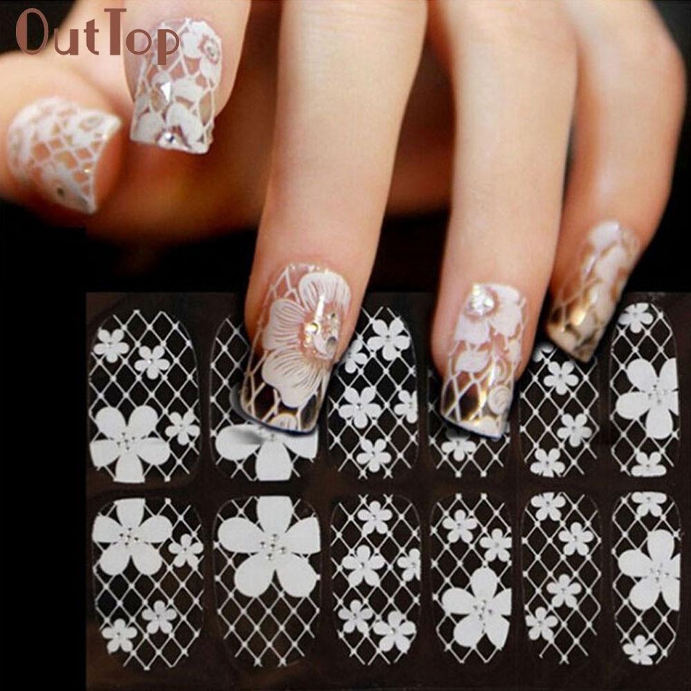GRACEFUL waterproof white Beautiful fashion elegant Lace Diamond Flower Stickers Nail Art Tips  AUG6 dd001891 beautiful white