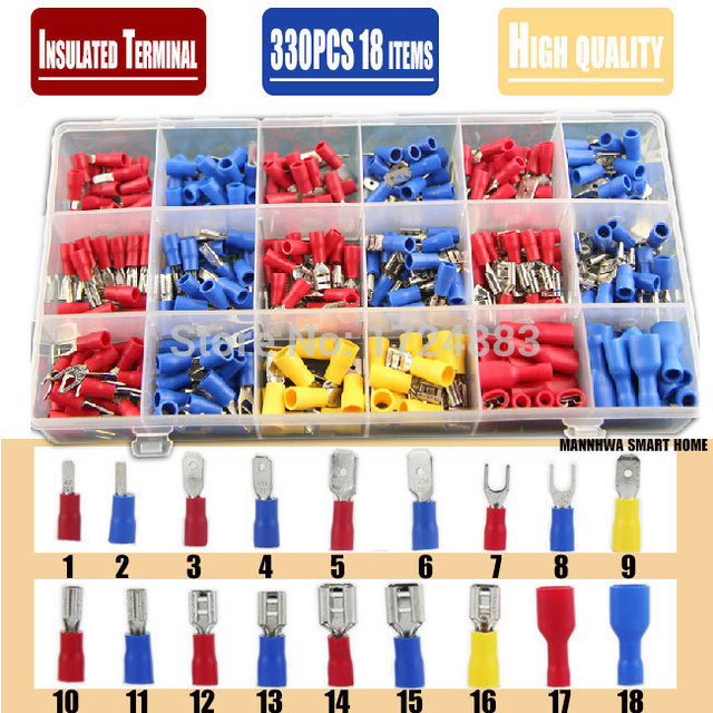 free shipping 330pcs assorted full insulated fork u type set rh aliexpress com types of terminal block connectors types of battery terminal connectors
