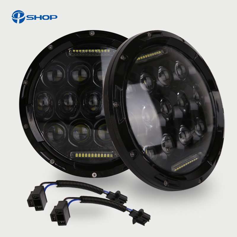 75W 7 inch Car Led Headlight 4x4 Off road Led H4 Hi/Lo Beam led Auto Headlight Kit for Jeep Wrangler JK CJ Motorcycle 7 inch round 50w 7 led headlight h4 led head lamp for harley motorcycle for jeep wrangler 4x4 with white amber halo hi low beam
