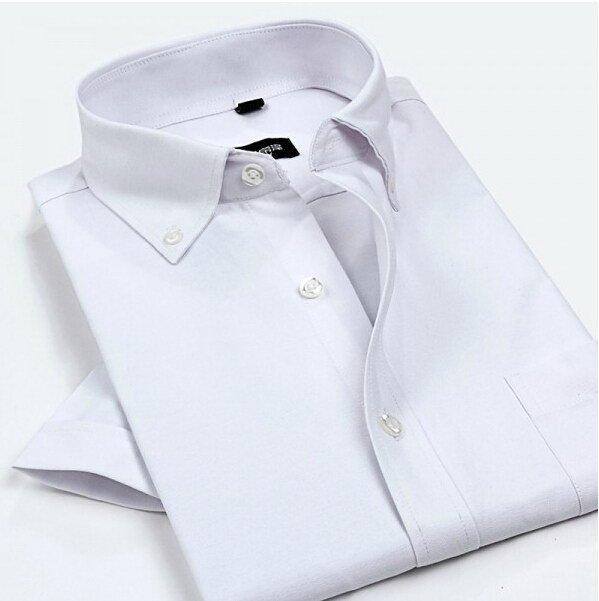 Homens Oxford Camisas de Vestido quente do verão 2017 New Non Ferro Luxo Slim Fit Manga Curta Camisas de Marca Formal do Negócio de Moda Sólida 4XL