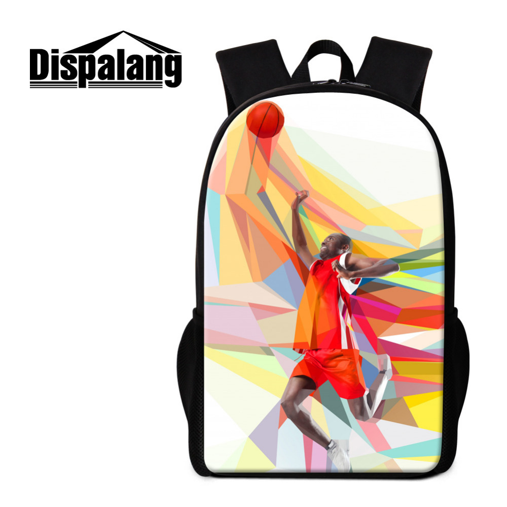 Dispalang Women Men Backpack Basketball Print School Bags for Teenagers Oxford Shoulder Bag Kids Casual Travel Bags Boys Bookbag