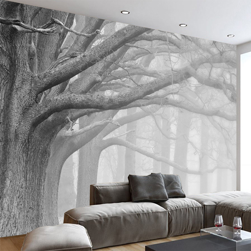 Custom Photo 3D Wallpaper Black And White Forest Tree Art Mural Cafe Restaurant Bedroom Home Decor Waterproof Mural 3D Fresco