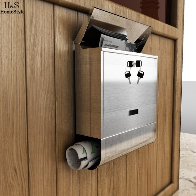 Homdox Stainless Steel Mailbox Wall Mount  Europe Home Office Mail Box Letterbox Mail Storage Boxes & Bins Large Size N20*
