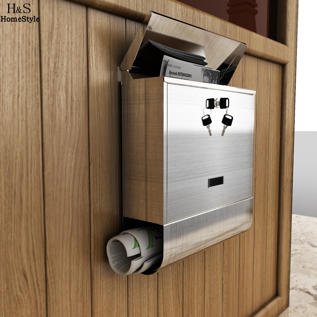 Mailbox stainless steel locking mail box letterbox postal box modern - Homdox Stainless Steel Mailbox Wall Mount Europe Home Office Mail Box Letterbox Mail Storage Boxes