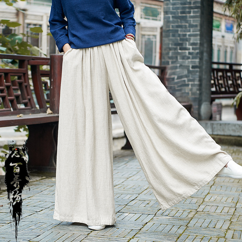 Makuluya New Arrivals Super Loose Women Trousers High Waist Elastic   Wide     Leg     Pants   Breathable Linen Cool Lady Casual   Pants   QW67
