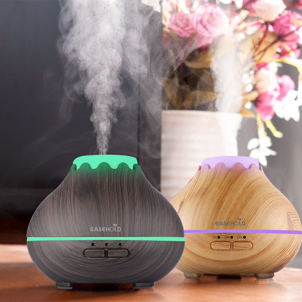 EASEHOLD 150ml Aroma Essential Oil Diffuser Ultralyd Cool Mist Luftfukter Med 7 Farge LED Lights Auto Shut Off Super Quiet