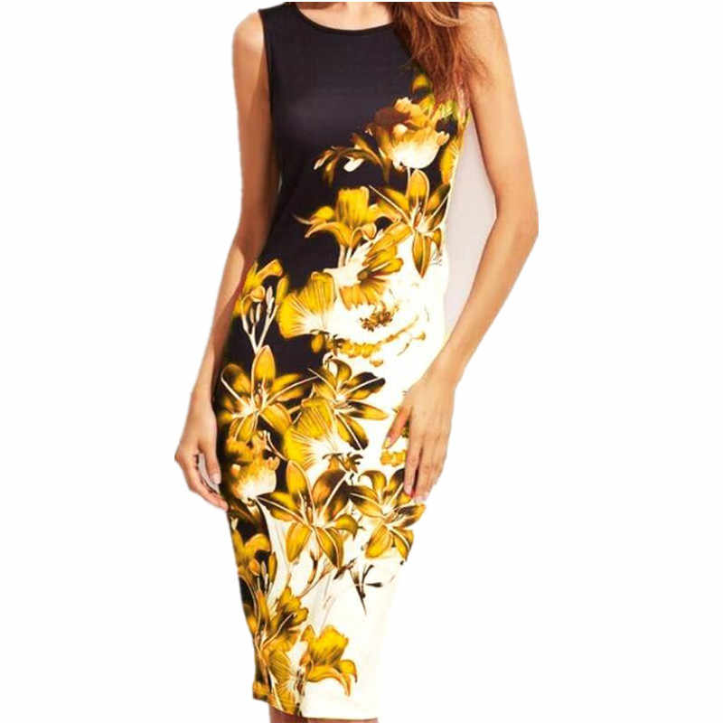 ad5f32d99e590 S-5XL Summer Women Sleeveless Female Floral Print Large Sizes Bodycon Dress  Sexy Casual Slim Midi Dress Robe Plus Size Clothing