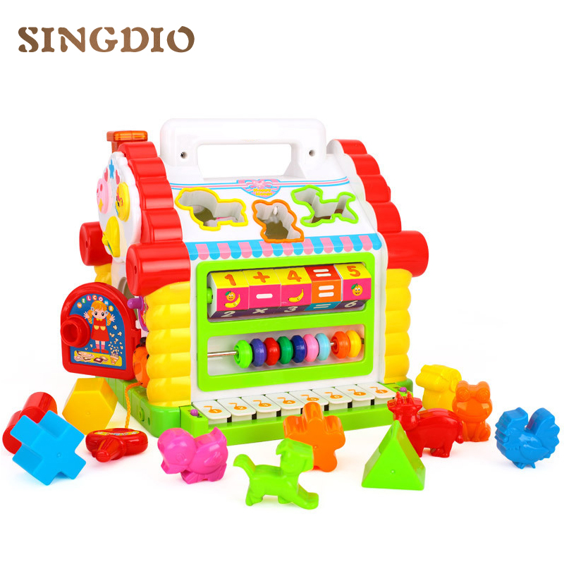 Colorful Baby Fun House Musical Electronic Geometric BlocksMultifunctional Musical Toys Sorting Learning Educational Toys Gifts цена