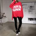 [soonyour] 2017 Spring New Pattern Sweatshirt O-neck Painted big Letter Irregular Hem large size women fashion shirt B05503