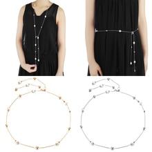 Women Diamante Pearl Rhinestone Waist Chain Charm Belt Waist Strap Wedding Dress Bridal Clothing Accessories Approx120cm