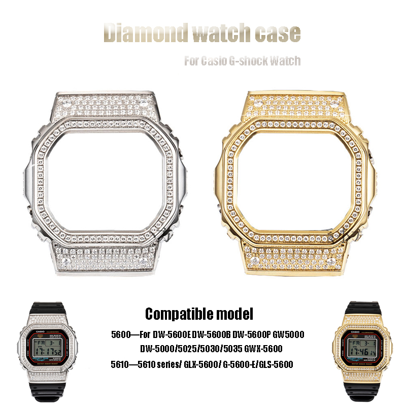 Diamond Watch Case For Casio DW5600/5000/5025/5035 GW-5000 5035 GW-M5610 G-5600-E 316L Stainless Steel Cover For G-shock Watch image