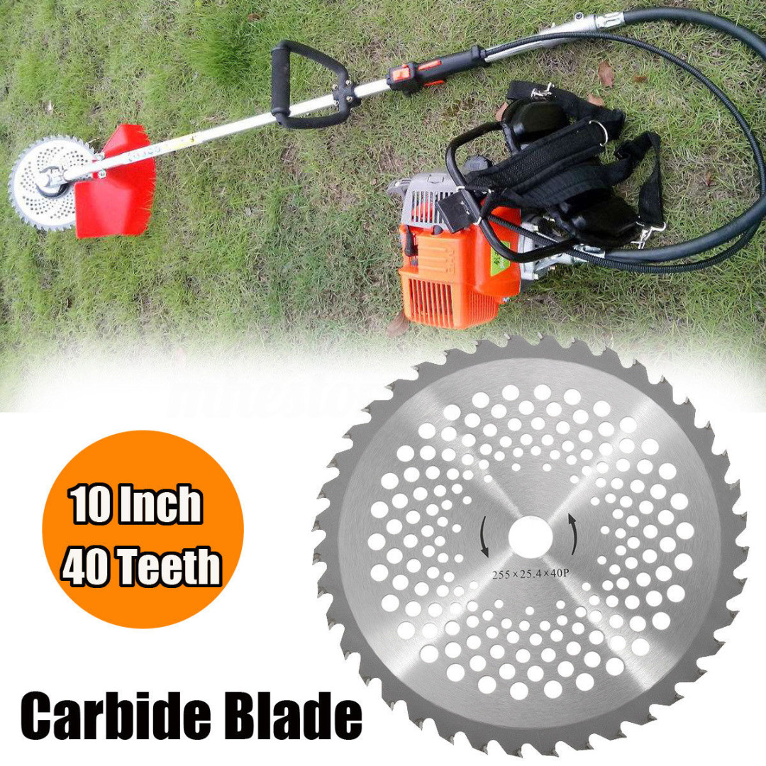 NEW 10 Inch 40T Brush Cutter Blade Steel Lawn Mower Blade Bore Dia. 25.4mm Carbide Tip Garden Replacement Parts