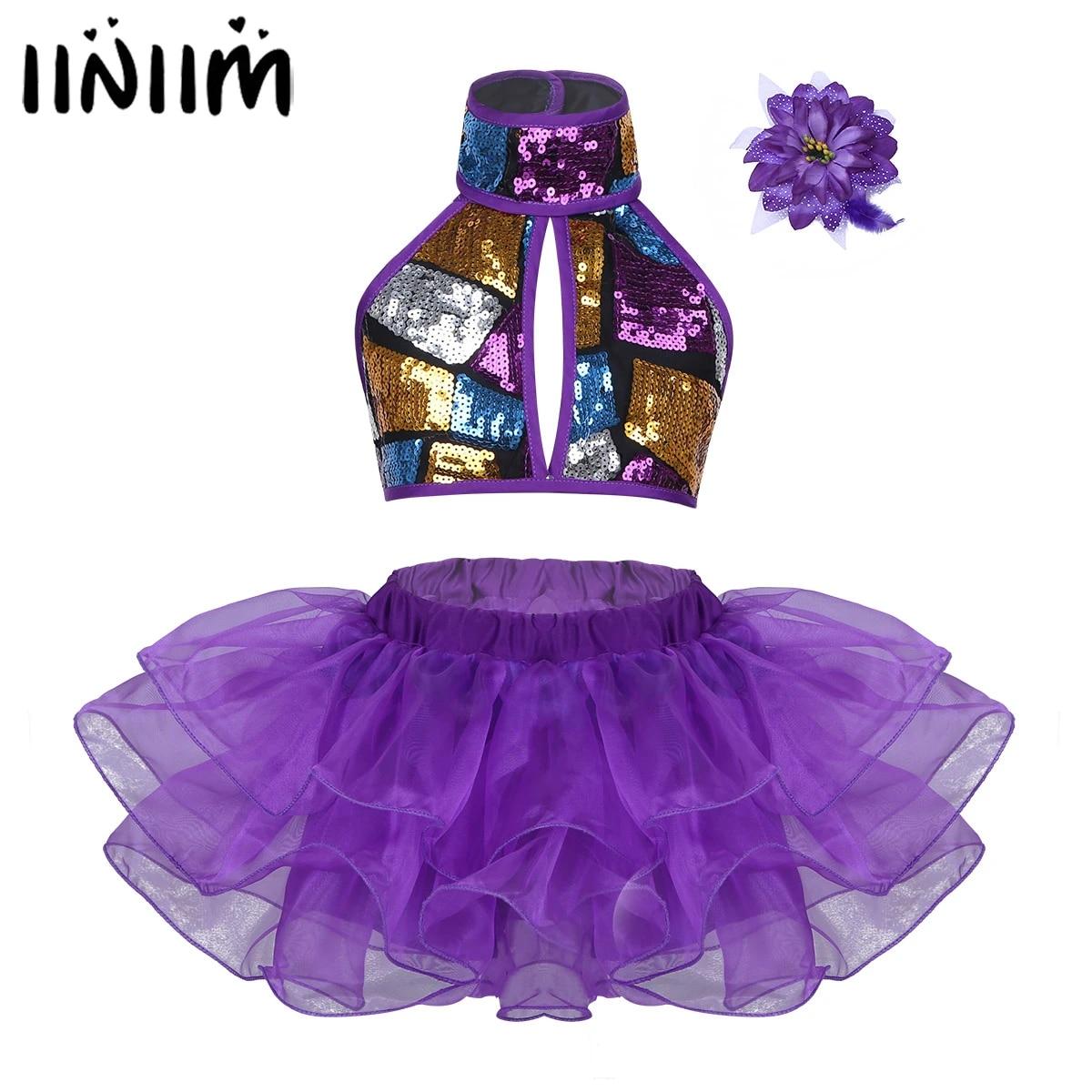 iiniim Girls Sequined Crop Top with Tutu Skirt Hair Clip Costume Kids Choir Jazz Dance Stage Performance Fancy Dress Up