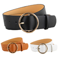 Women Ladies Classic Gold Round Buckle Waist Belt Faux Leather Jeans Waistband BLTLL0112