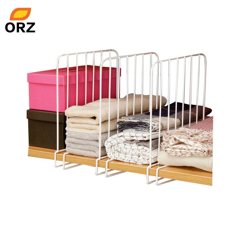 ORZ 3PCS Closet Shelf Dividers Space Saving Shelves Wire Design White  Wardrobe Chest Drawer Organizer Clothes