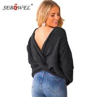 SEBOWEL Twist Back Sweaters for Woman Long Sleeve Pullover Popcorn Knit Top Female Casual Warm Cozy Backless Sweater 2019 Winter