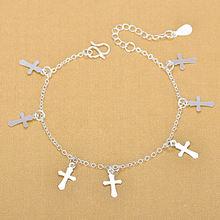Женский браслет из серебра 925 пробы с подвеской крестом