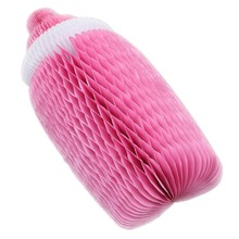 1pc (Pink,Blue) Cute Honeycomb Baby Bottle Paper Decoration