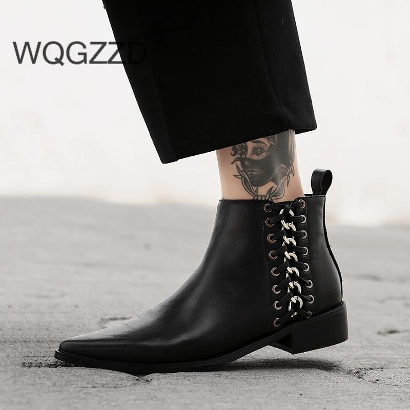 De Tobillo Lujo Marca Mujeres Mujer Bottes Genuino Femme Para Cadena Cuero Zapatos Chelsea Invierno Botas BdqqwxFz