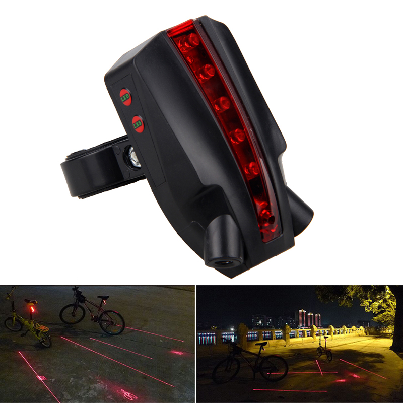 Bicycle Cycling Bike Dual Laser Projector Red Lamps Beam 5LED Rear Tail Light