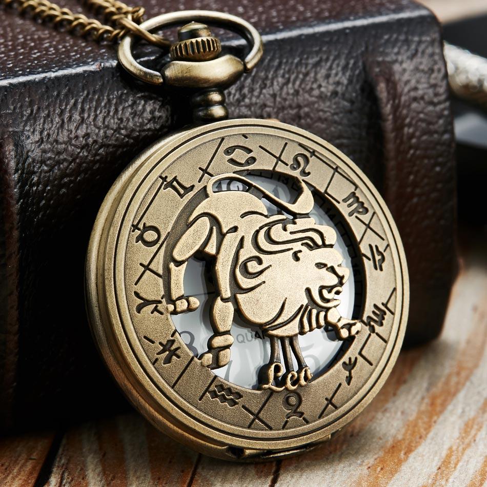 Vintage Bronze Steampunk Pattern Pocket Watch Zodiac Necklace Chain Retro Twelve 12 Constellation Men Women Clock Relogio Gifts