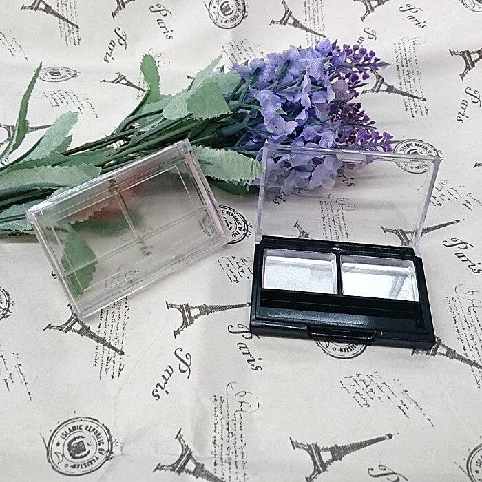 50pcs/lot 2grids aluminum plate black/transparent rectangle ps eye shadow/blush/face cream plastic box with transparent flip cap jinbei em 35x140 grids soft box