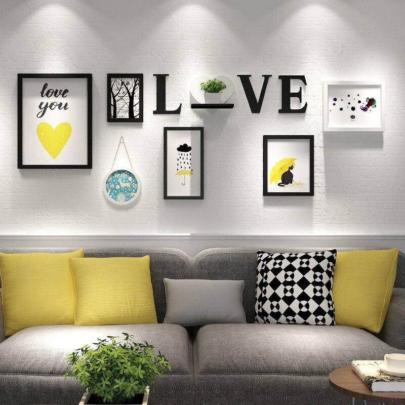 Décoration murale en bois cadre Photo ensemble blanc noir moderne maison Design 6 pièces Photo cadre ensemble Collage amour lettre Photo cadres