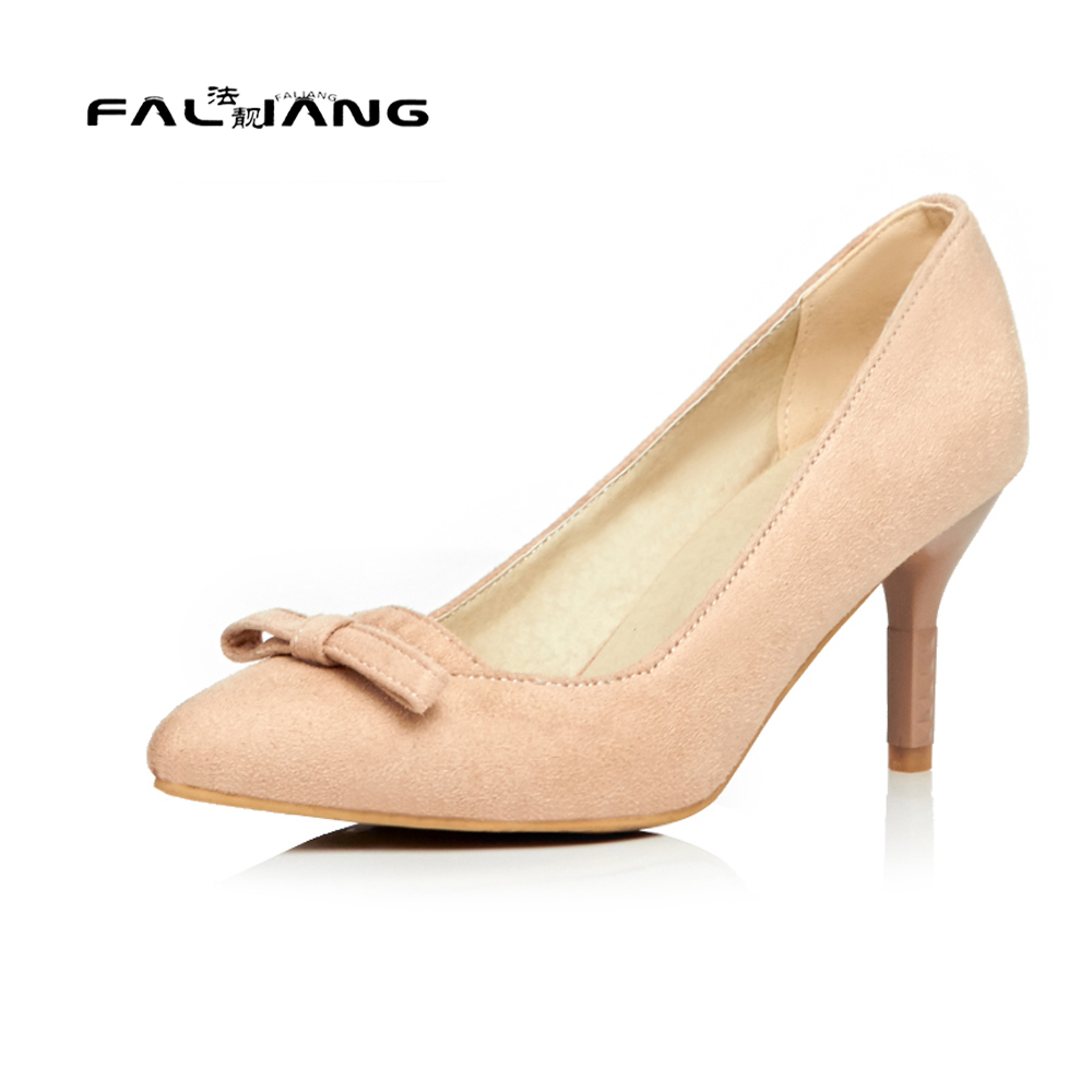 Big Size 11 12 Elegant Butterfly-knot Pointed Toe Casual Thin Heels Women's Shoes High Heels Pumps Woman For Women new flock high big size 11 12 women shoes wedges pointed toe woman ladies butterfly knot casual spring autumn sweet single shoes