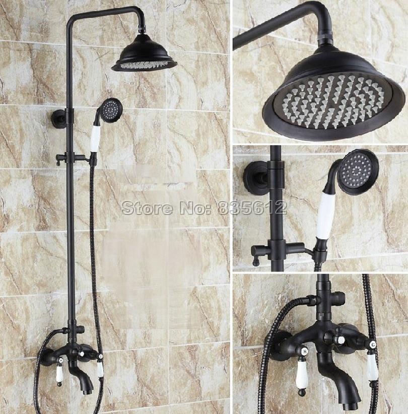 Black Oil Rubbed Brass Bathroom Rain Shower Faucet Set with Dual Ceramic Handle Bath Tub Mixer Tap Whg048