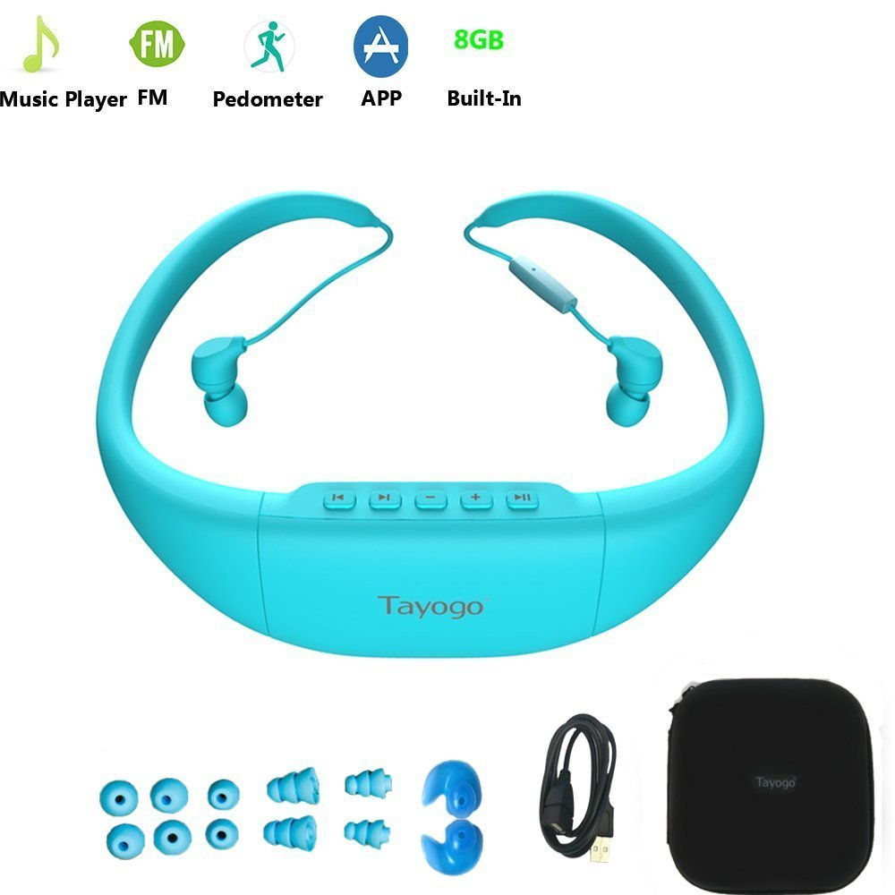 Tayogo Bluetooth Waterproof MP3 Player Headphone with Pedometer radio FM Wireless bluetooth MP3 Music Player for Swimming Sports new wireless headphones stereo bluetooth headset card mp3 player earphone fm radio music for music wireless headphone
