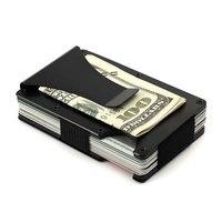 Men Metal RFID Blocking Clamp Credit Card Case Money Holder Minimalist Wallet ID Travel Porte Carte