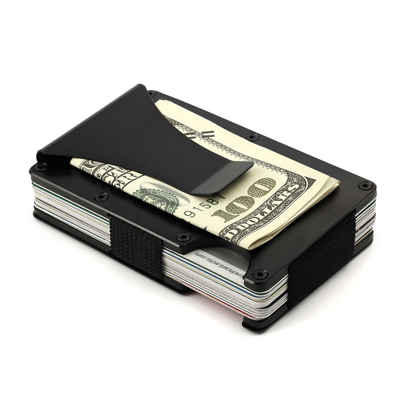 men minimalist wallet metal rfid blocking clamp credit card case money clip holder id wallets. Black Bedroom Furniture Sets. Home Design Ideas