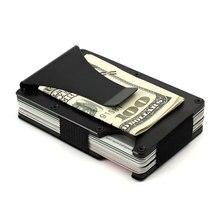 Мужчины минималистский кошелек из металла RFID Блокировка зажим кредитной карты случае зажим для денег держатель ID кошельки для путешествий порте Carte визитница