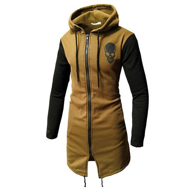 FeiTong Male Sweatshirts Men Spring Summer Casual Skull Print Zipper Long Sleeve Top Blouse Jacket Coat Brand Hoodies Moletom