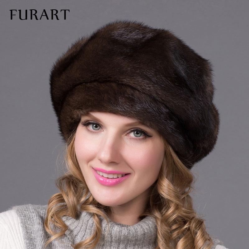 Real mink fur hats for winter women fur cap with diamond 2016 new fashion octagon mink fur beret Russia good quality elegant hat